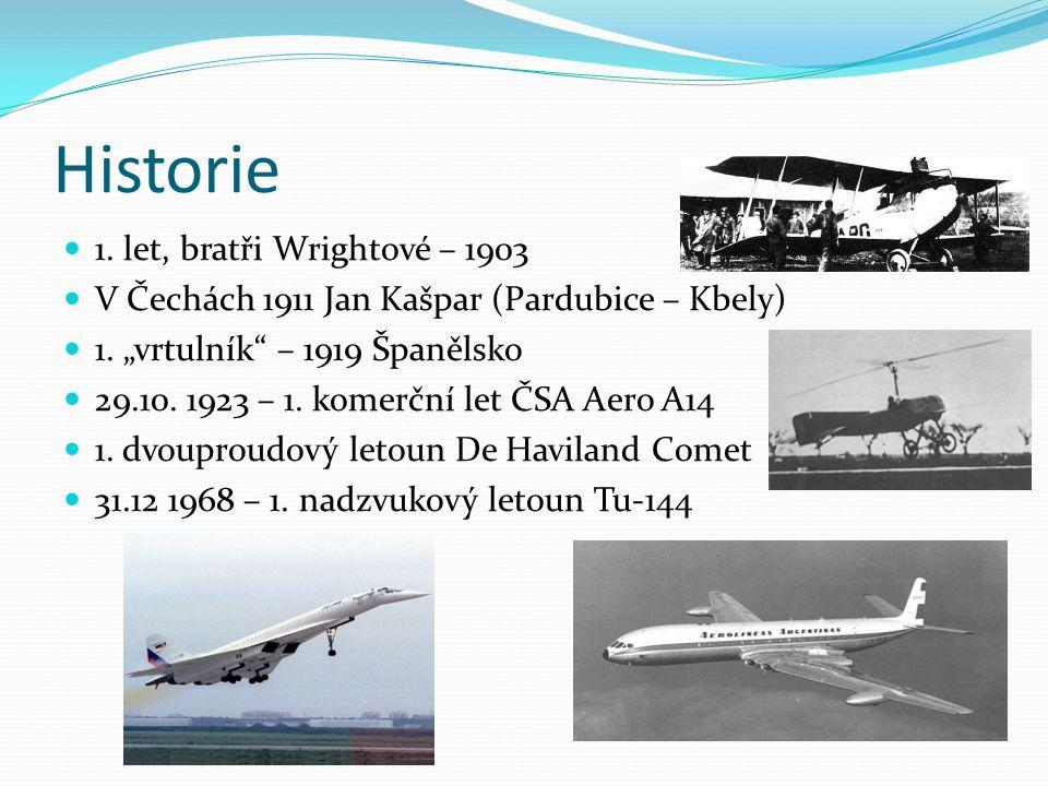 Slavné dopravní letouny 1934 - Douglas DC-2, ČR 1935 - Douglas Dc-3 Dakota – 10700 kusů, ČR 1956 - Tupolev Tu-104, ČR 1963 - Iljušin Il-62, ČR 1968 - Tupolev Tu – 154, ČR 1969 - Boeing 747 - Jumbo Jet, 524 pasažérů 1976 - Concorde 2007 - Airbus A-380, 853 pasažérů 2010.