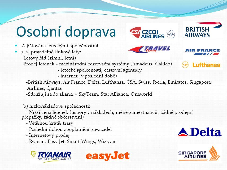 Osobní doprava Zajišťována leteckými společnostmi 1.