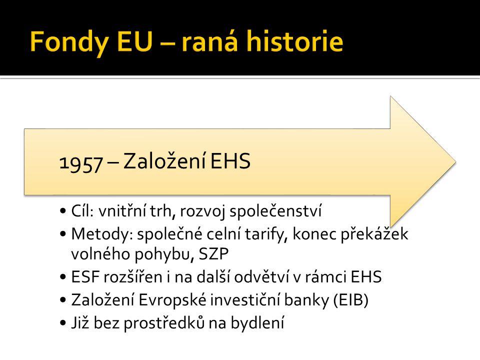 Cíl: vnitřní trh, rozvoj společenství Metody: společné celní tarify, konec překážek volného pohybu, SZP ESF rozšířen i na další odvětví v rámci EHS Založení Evropské investiční banky (EIB) Již bez prostředků na bydlení 1957 – Založení EHS