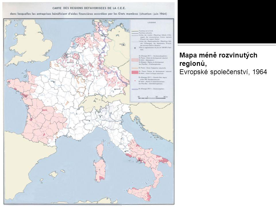 Mapa méně rozvinutých regionů, Evropské společenství, 1964