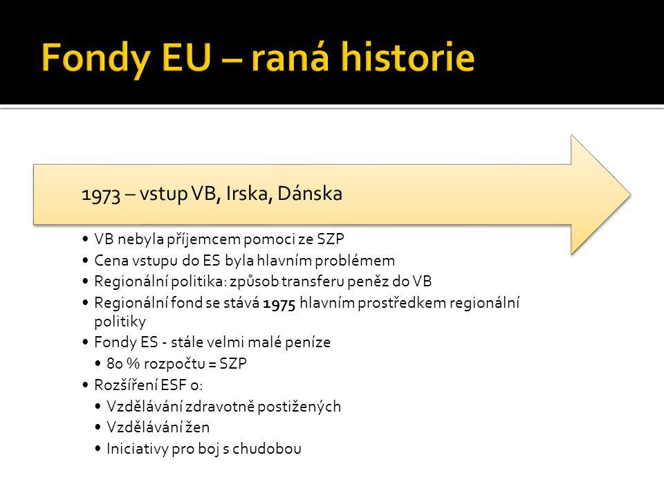 VB nebyla příjemcem pomoci ze SZP Cena vstupu do ES byla hlavním problémem Regionální politika: způsob transferu peněz do VB Regionální fond se stává 1975 hlavním prostředkem regionální politiky Fondy ES - stále velmi malé peníze 80 % rozpočtu = SZP Rozšíření ESF o: Vzdělávání zdravotně postižených Vzdělávání žen Iniciativy pro boj s chudobou 1973 – vstup VB, Irska, Dánska