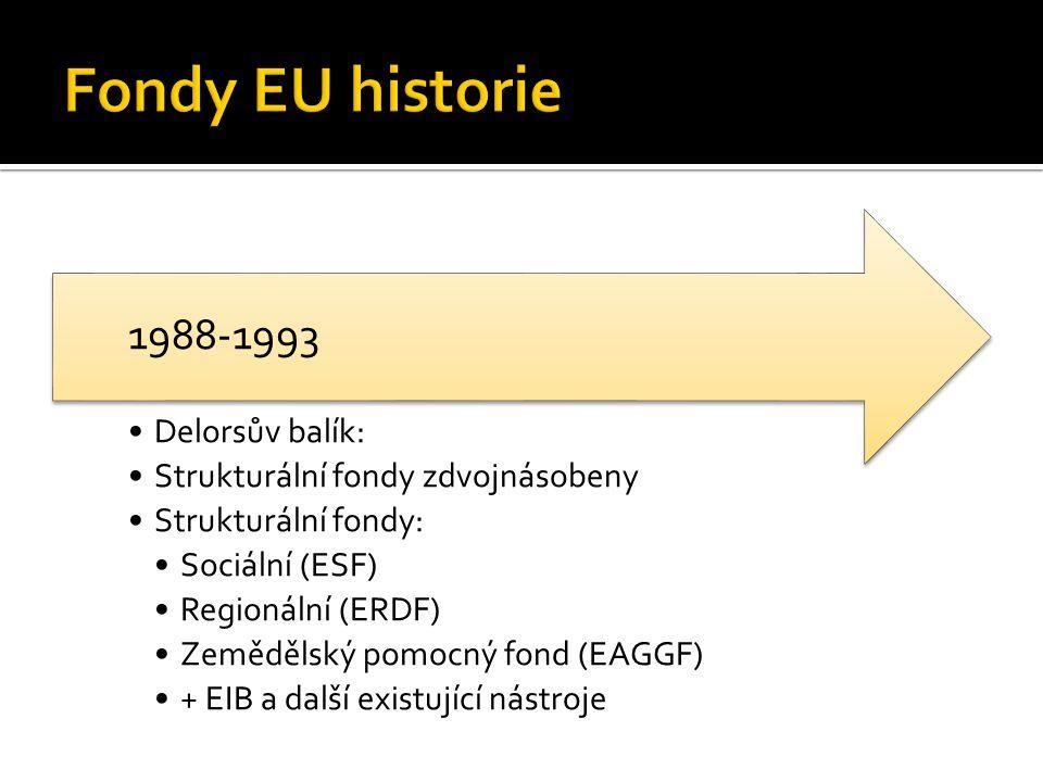 Delorsův balík: Strukturální fondy zdvojnásobeny Strukturální fondy: Sociální (ESF) Regionální (ERDF) Zemědělský pomocný fond (EAGGF) + EIB a další existující nástroje 1988-1993