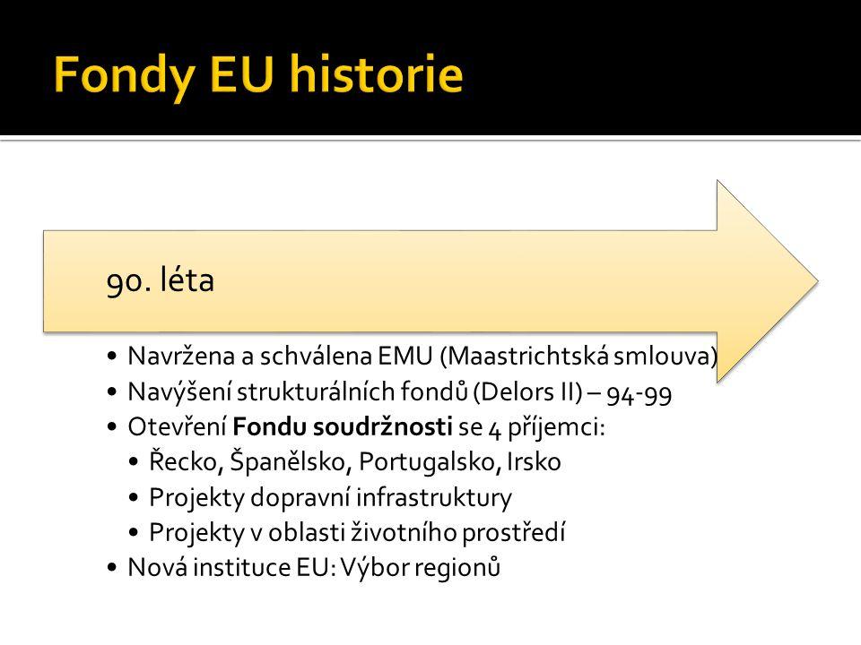Navržena a schválena EMU (Maastrichtská smlouva) Navýšení strukturálních fondů (Delors II) – 94-99 Otevření Fondu soudržnosti se 4 příjemci: Řecko, Španělsko, Portugalsko, Irsko Projekty dopravní infrastruktury Projekty v oblasti životního prostředí Nová instituce EU: Výbor regionů 90.