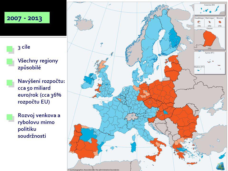 2007 - 2013 3 cíle Všechny regiony způsobilé Navýšení rozpočtu: cca 50 miliard euro/rok (cca 36% rozpočtu EU) Rozvoj venkova a rybolovu mimo politiku soudržnosti