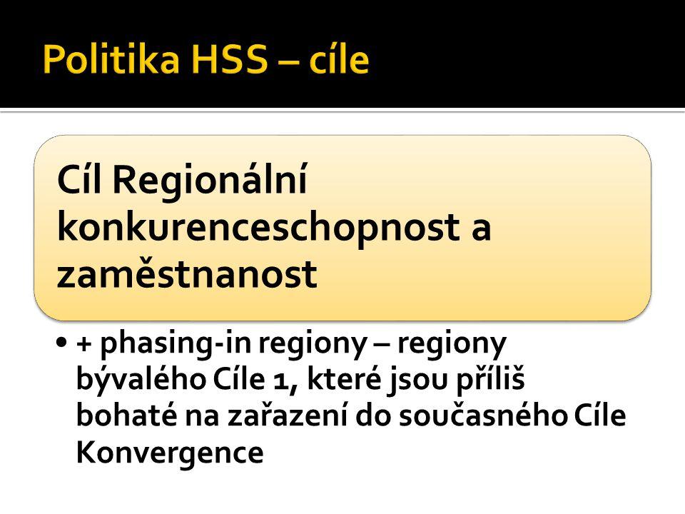 Cíl Regionální konkurenceschopnost a zaměstnanost + phasing-in regiony – regiony bývalého Cíle 1, které jsou příliš bohaté na zařazení do současného Cíle Konvergence