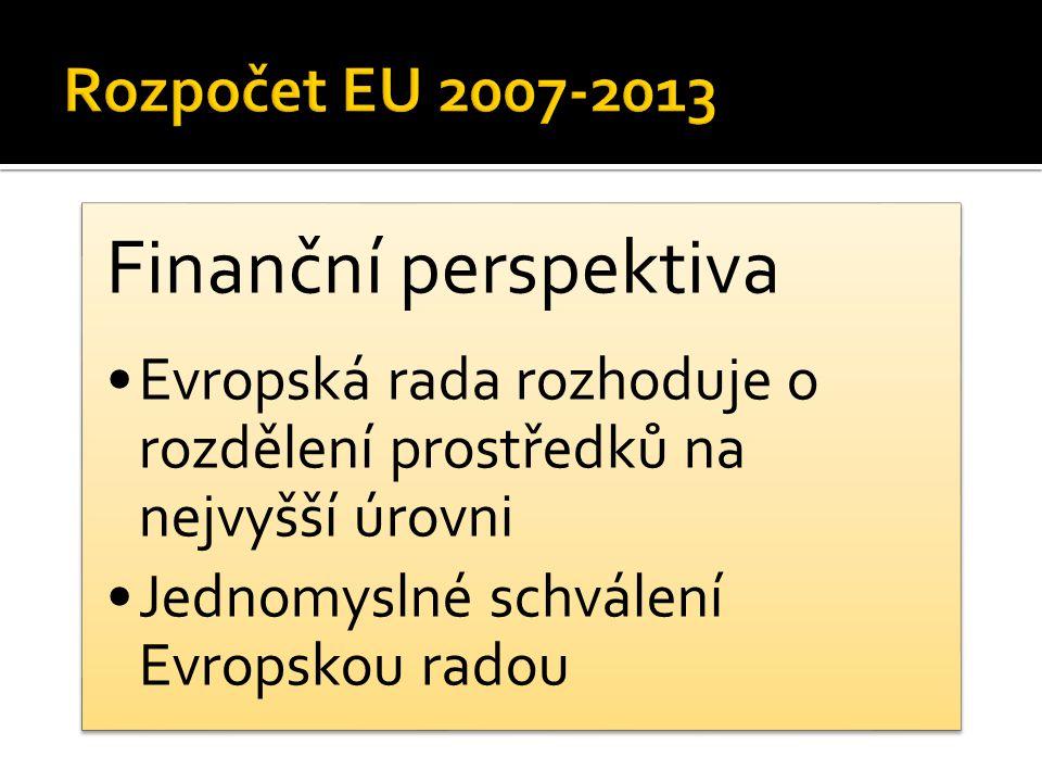Finanční perspektiva Evropská rada rozhoduje o rozdělení prostředků na nejvyšší úrovni Jednomyslné schválení Evropskou radou