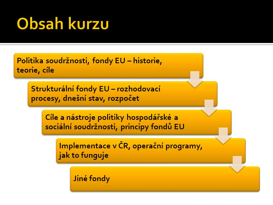 Politika soudržnosti, fondy EU – historie, teorie, cíle Strukturální fondy EU – rozhodovací procesy, dnešní stav, rozpočet Cíle a nástroje politiky hospodářské a sociální soudržnosti, principy fondů EU Implementace v ČR, operační programy, jak to funguje Jiné fondy