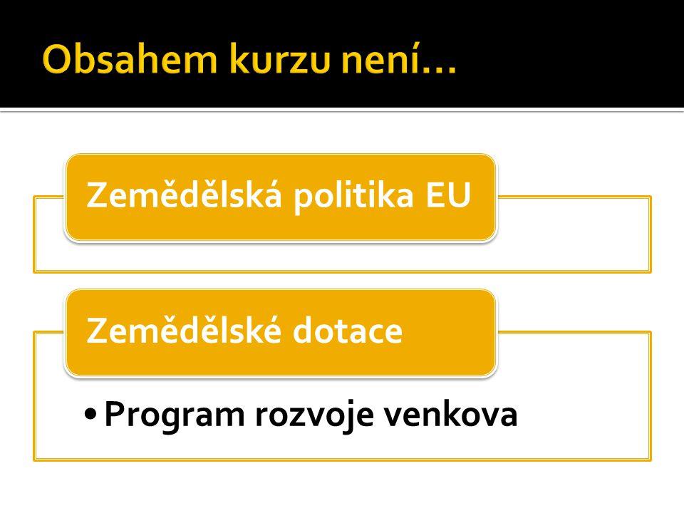 Zemědělská politika EU Program rozvoje venkova Zemědělské dotace
