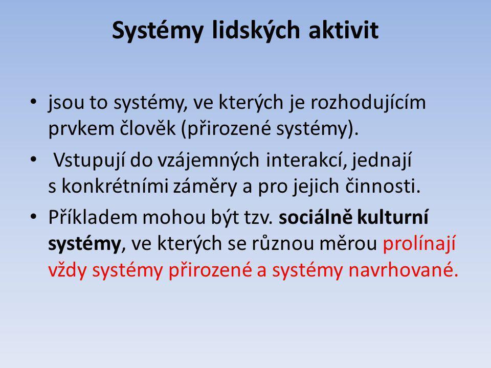 Systémy lidských aktivit jsou to systémy, ve kterých je rozhodujícím prvkem člověk (přirozené systémy). Vstupují do vzájemných interakcí, jednají s ko