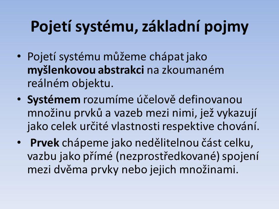 Pojetí systému, základní pojmy Pojetí systému můžeme chápat jako myšlenkovou abstrakci na zkoumaném reálném objektu. Systémem rozumíme účelově definov
