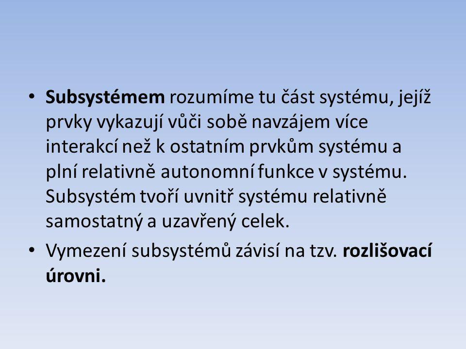 Subsystémem rozumíme tu část systému, jejíž prvky vykazují vůči sobě navzájem více interakcí než k ostatním prvkům systému a plní relativně autonomní