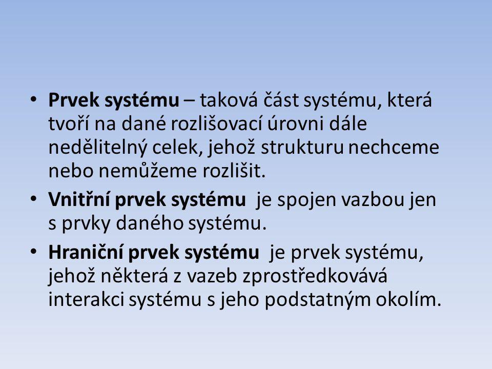 Prvek systému – taková část systému, která tvoří na dané rozlišovací úrovni dále nedělitelný celek, jehož strukturu nechceme nebo nemůžeme rozlišit. V