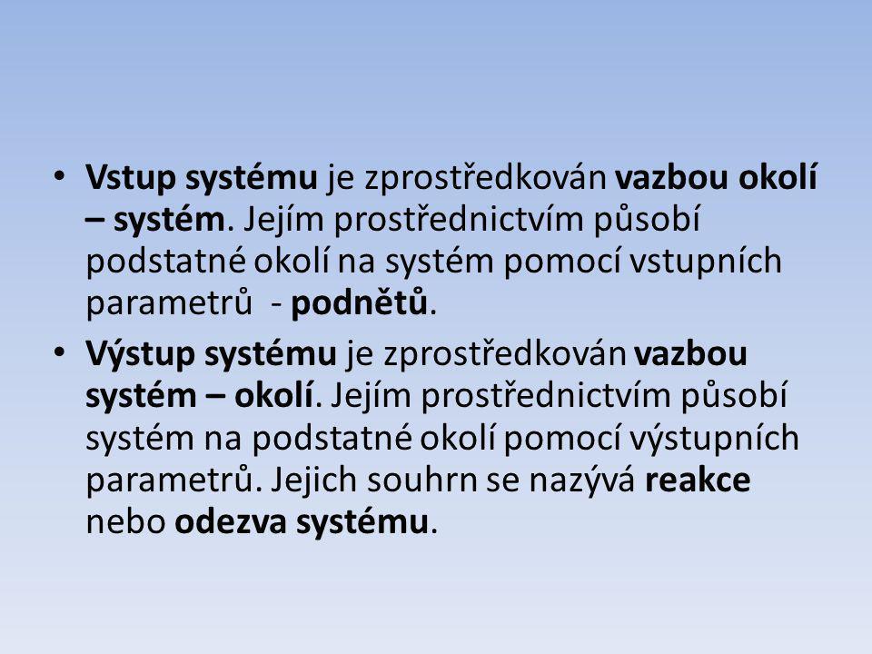 Vstup systému je zprostředkován vazbou okolí – systém. Jejím prostřednictvím působí podstatné okolí na systém pomocí vstupních parametrů - podnětů. Vý