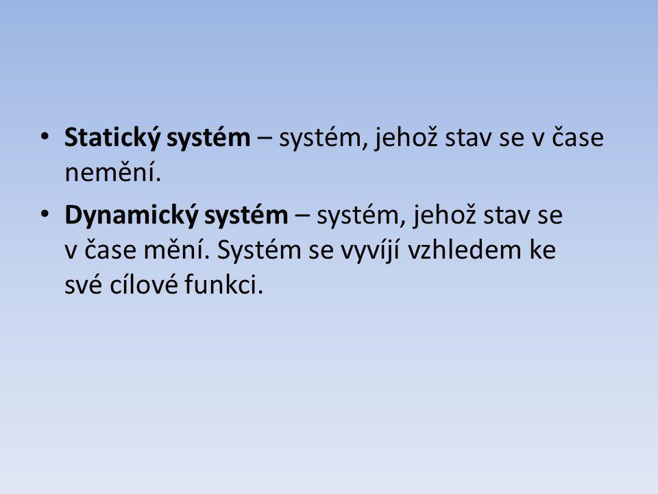 Statický systém – systém, jehož stav se v čase nemění. Dynamický systém – systém, jehož stav se v čase mění. Systém se vyvíjí vzhledem ke své cílové f