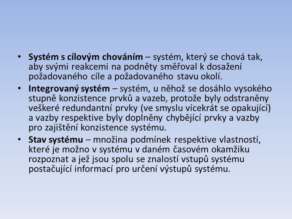 Systém s cílovým chováním – systém, který se chová tak, aby svými reakcemi na podněty směřoval k dosažení požadovaného cíle a požadovaného stavu okolí