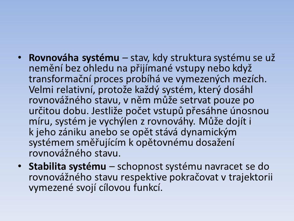 Rovnováha systému – stav, kdy struktura systému se už nemění bez ohledu na přijímané vstupy nebo když transformační proces probíhá ve vymezených mezíc