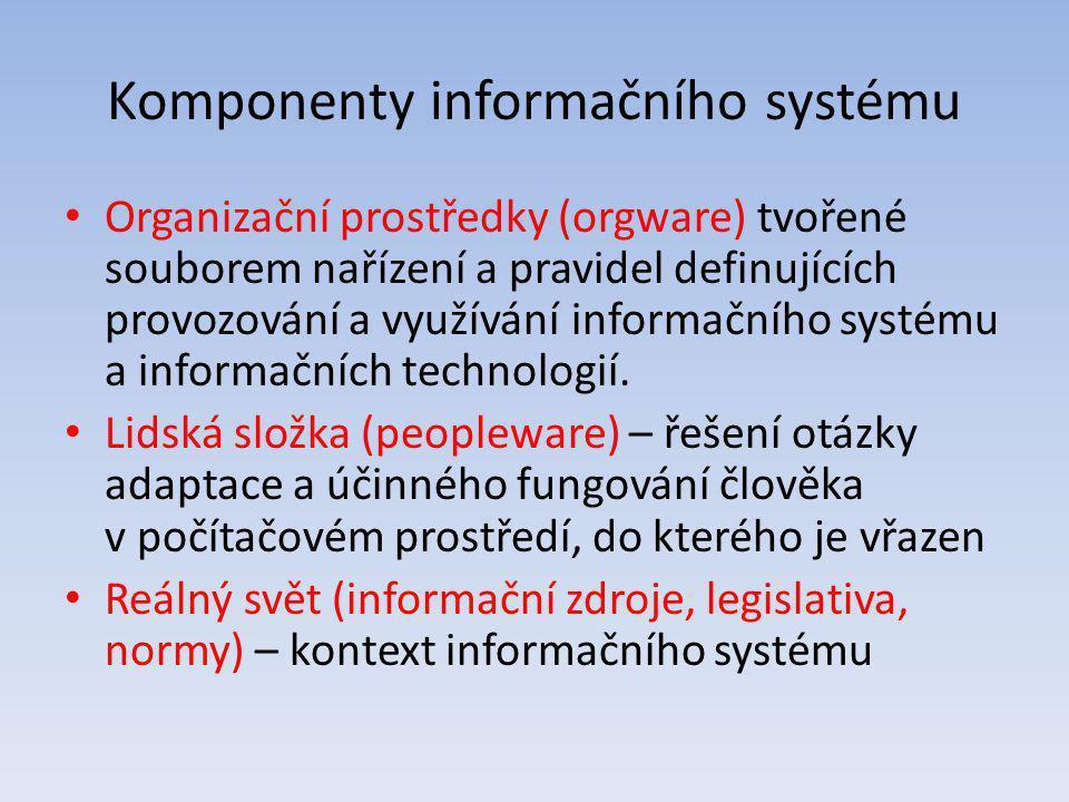 Komponenty informačního systému Organizační prostředky (orgware) tvořené souborem nařízení a pravidel definujících provozování a využívání informačníh