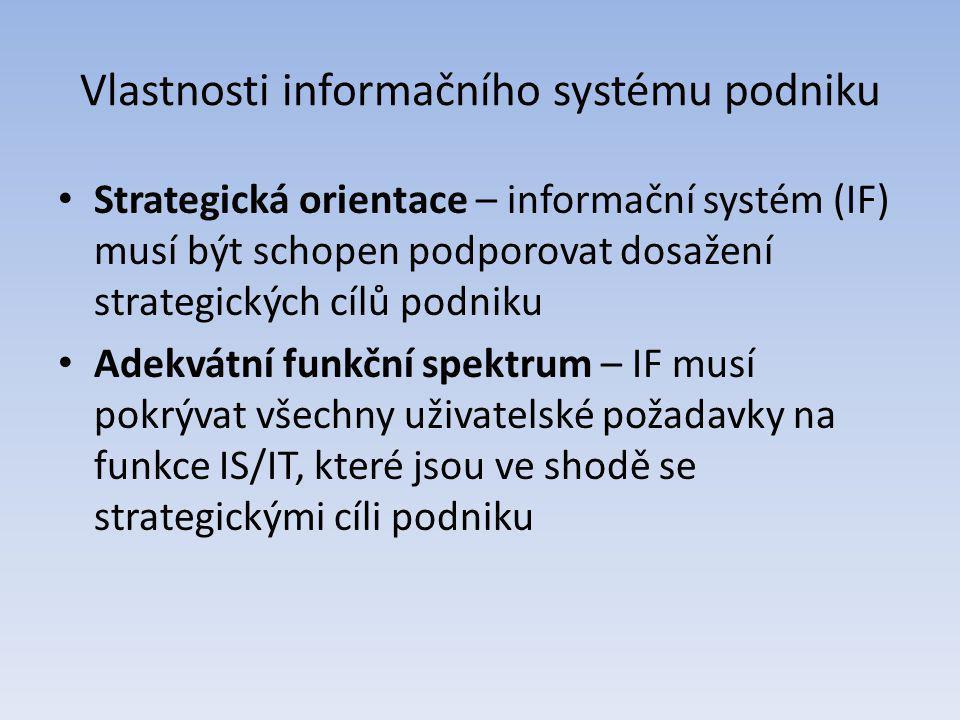Vlastnosti informačního systému podniku Strategická orientace – informační systém (IF) musí být schopen podporovat dosažení strategických cílů podniku