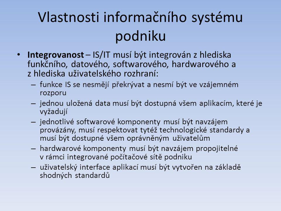 Vlastnosti informačního systému podniku Integrovanost – IS/IT musí být integrován z hlediska funkčního, datového, softwarového, hardwarového a z hledi