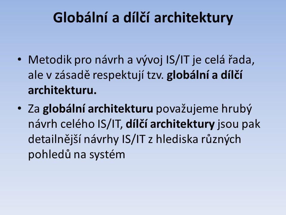 Globální a dílčí architektury Metodik pro návrh a vývoj IS/IT je celá řada, ale v zásadě respektují tzv. globální a dílčí architekturu. Za globální ar