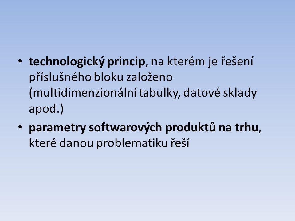 technologický princip, na kterém je řešení příslušného bloku založeno (multidimenzionální tabulky, datové sklady apod.) parametry softwarových produkt