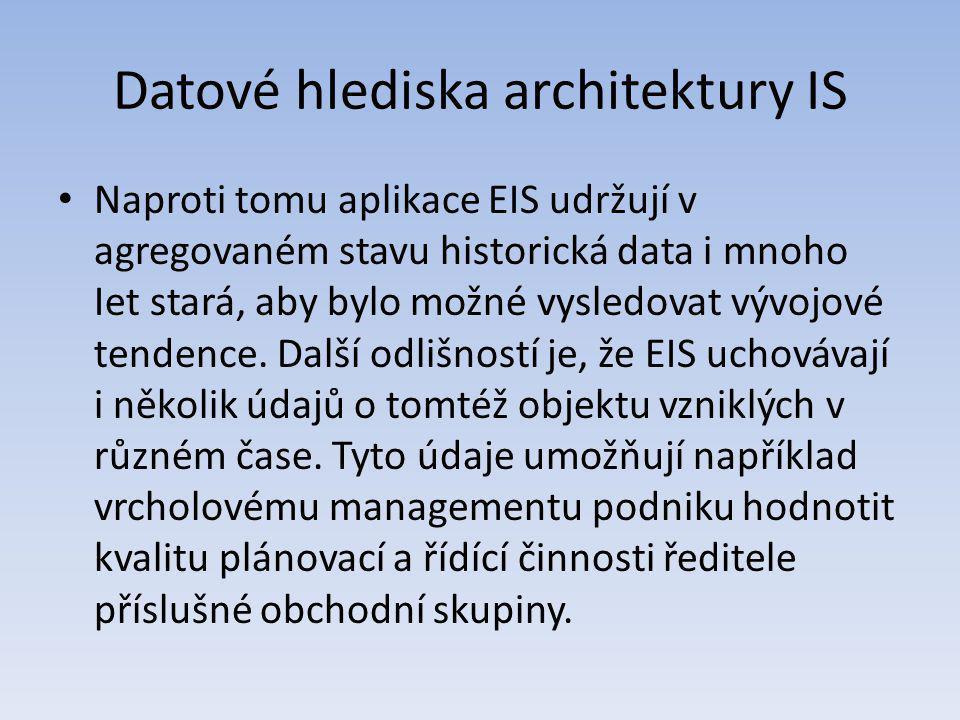 Datové hlediska architektury IS Naproti tomu aplikace EIS udržují v agregovaném stavu historická data i mnoho Iet stará, aby bylo možné vysledovat výv
