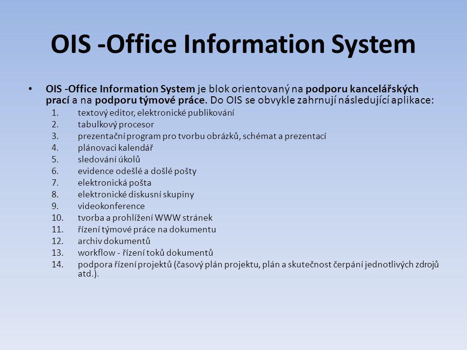 OIS -Office Information System OIS -Office Information System je blok orientovaný na podporu kancelářských prací a na podporu týmové práce. Do OIS se