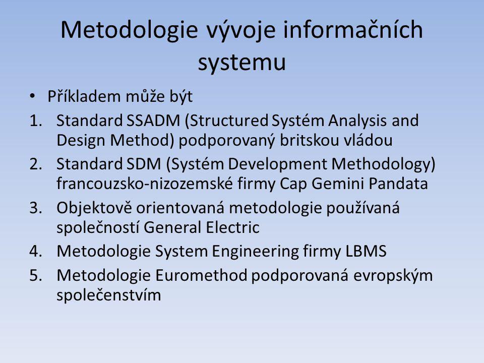 Metodologie vývoje informačních systemu Příkladem může být 1.Standard SSADM (Structured Systém Analysis and Design Method) podporovaný britskou vládou