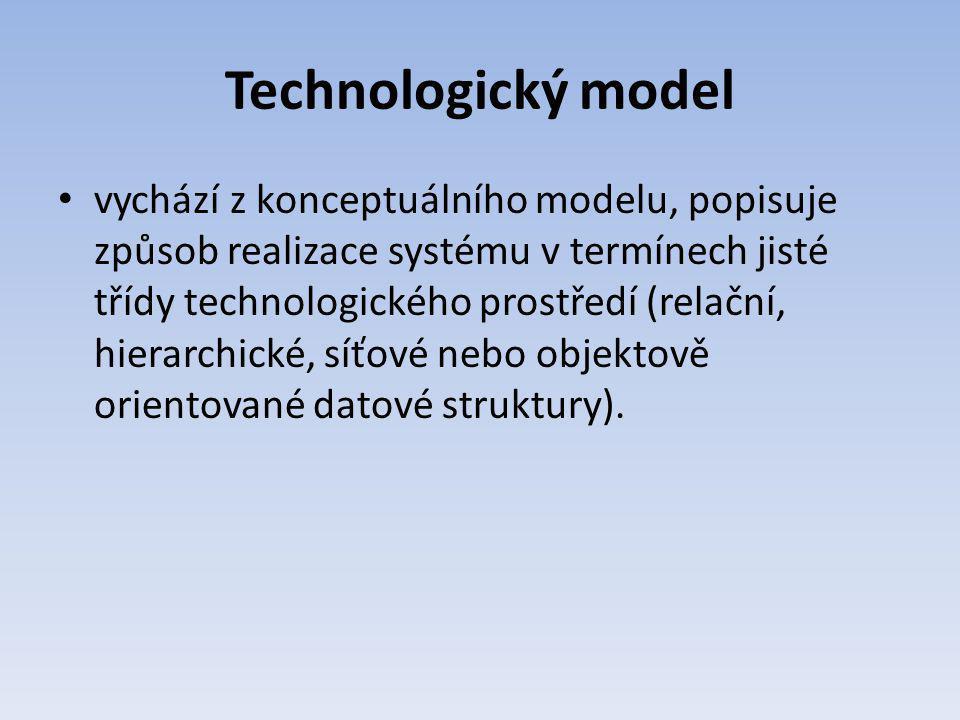 Technologický model vychází z konceptuálního modelu, popisuje způsob realizace systému v termínech jisté třídy technologického prostředí (relační, hie