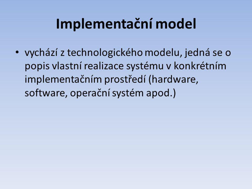 Implementační model vychází z technologického modelu, jedná se o popis vlastní realizace systému v konkrétním implementačním prostředí (hardware, soft