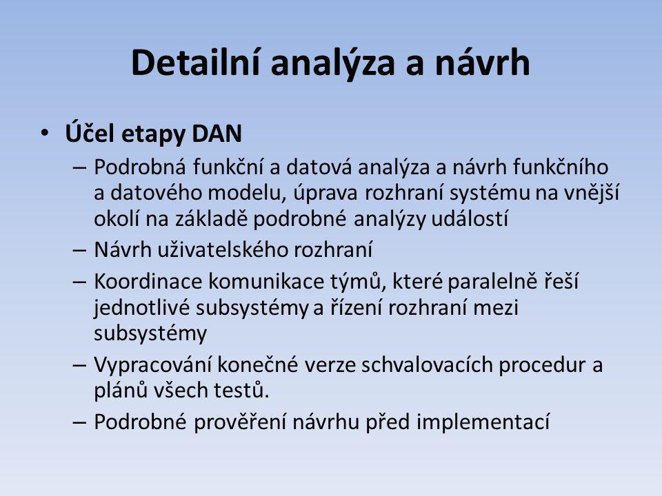 Detailní analýza a návrh Účel etapy DAN – Podrobná funkční a datová analýza a návrh funkčního a datového modelu, úprava rozhraní systému na vnější oko