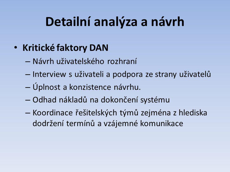 Detailní analýza a návrh Kritické faktory DAN – Návrh uživatelského rozhraní – Interview s uživateli a podpora ze strany uživatelů – Úplnost a konzist