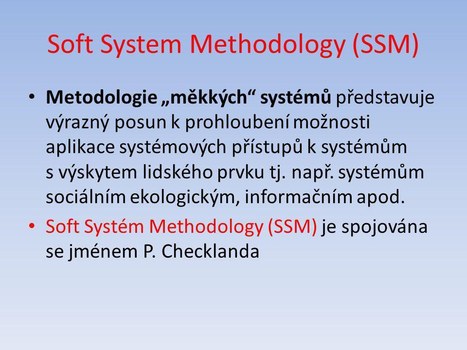 """Soft System Methodology (SSM) Metodologie """"měkkých"""" systémů představuje výrazný posun k prohloubení možnosti aplikace systémových přístupů k systémům"""