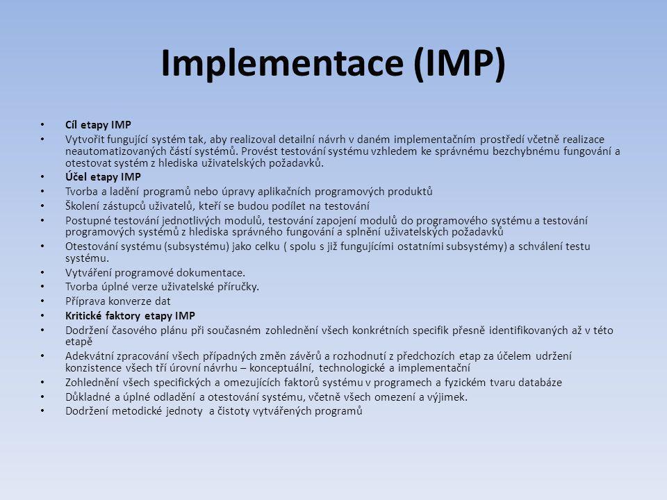 Implementace (IMP) Cíl etapy IMP Vytvořit fungující systém tak, aby realizoval detailní návrh v daném implementačním prostředí včetně realizace neauto