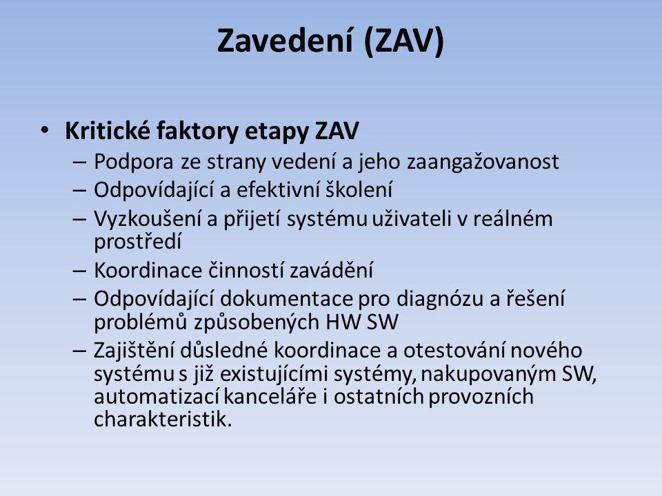 Zavedení (ZAV) Kritické faktory etapy ZAV – Podpora ze strany vedení a jeho zaangažovanost – Odpovídající a efektivní školení – Vyzkoušení a přijetí s