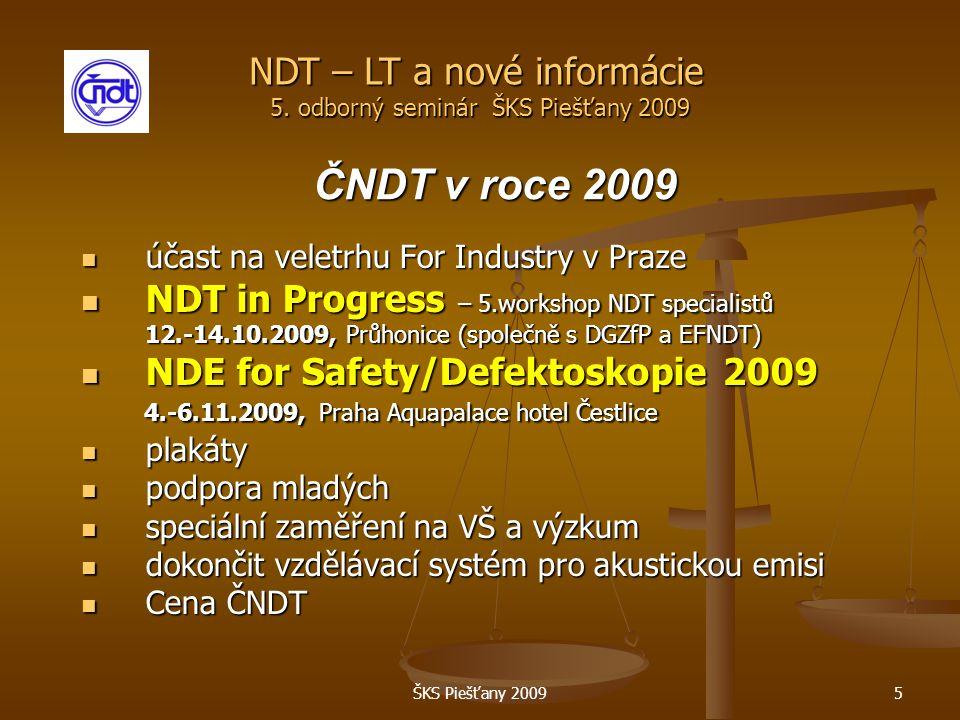 ŠKS Piešťany 20095 ČNDT v roce 2009 účast na veletrhu For Industry v Praze účast na veletrhu For Industry v Praze NDT in Progress – 5.workshop NDT specialistů NDT in Progress – 5.workshop NDT specialistů 12.-14.10.2009, Průhonice (společně s DGZfP a EFNDT) NDE for Safety/Defektoskopie 2009 NDE for Safety/Defektoskopie 2009 4.-6.11.2009, Praha Aquapalace hotel Čestlice 4.-6.11.2009, Praha Aquapalace hotel Čestlice plakáty plakáty podpora mladých podpora mladých speciální zaměření na VŠ a výzkum speciální zaměření na VŠ a výzkum dokončit vzdělávací systém pro akustickou emisi dokončit vzdělávací systém pro akustickou emisi Cena ČNDT Cena ČNDT NDT – LT a nové informácie 5.
