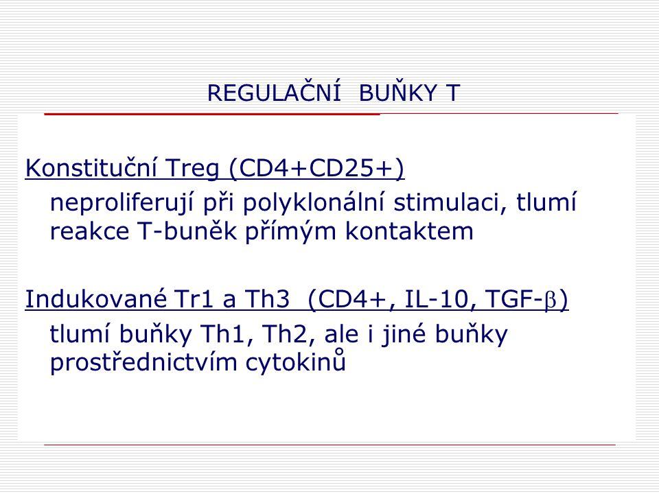 REGULAČNÍ BUŇKY T Konstituční Treg (CD4+CD25+) neproliferují při polyklonální stimulaci, tlumí reakce T-buněk přímým kontaktem Indukované Tr1 a Th3 (CD4+, IL-10, TGF-) tlumí buňky Th1, Th2, ale i jiné buňky prostřednictvím cytokinů