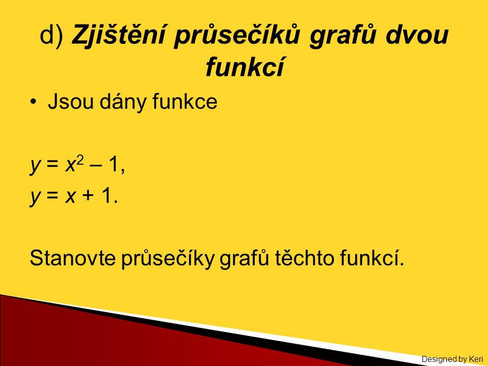 Designed by Keri d) Zjištění průsečíků grafů dvou funkcí Jsou dány funkce y = x 2 – 1, y = x + 1. Stanovte průsečíky grafů těchto funkcí.