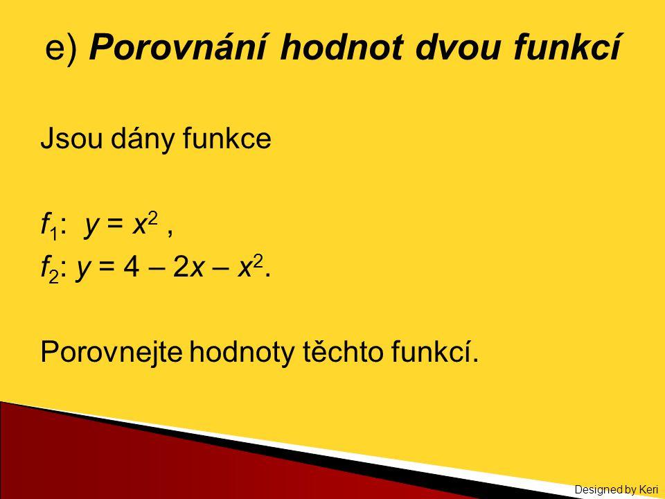 Designed by Keri e) Porovnání hodnot dvou funkcí Jsou dány funkce f 1 : y = x 2, f 2 : y = 4 – 2x – x 2. Porovnejte hodnoty těchto funkcí.