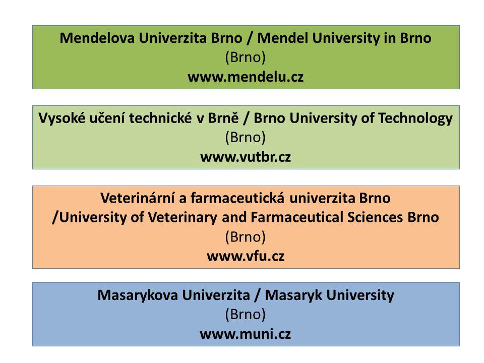 Mendelova Univerzita Brno / Mendel University in Brno (Brno) www.mendelu.cz Vysoké učení technické v Brně / Brno University of Technology (Brno) www.vutbr.cz Veterinární a farmaceutická univerzita Brno /University of Veterinary and Farmaceutical Sciences Brno (Brno) www.vfu.cz Masarykova Univerzita / Masaryk University (Brno) www.muni.cz