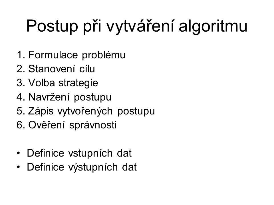 Postup při vytváření algoritmu 1. Formulace problému 2. Stanovení cílu 3. Volba strategie 4. Navržení postupu 5. Zápis vytvořených postupu 6. Ověření