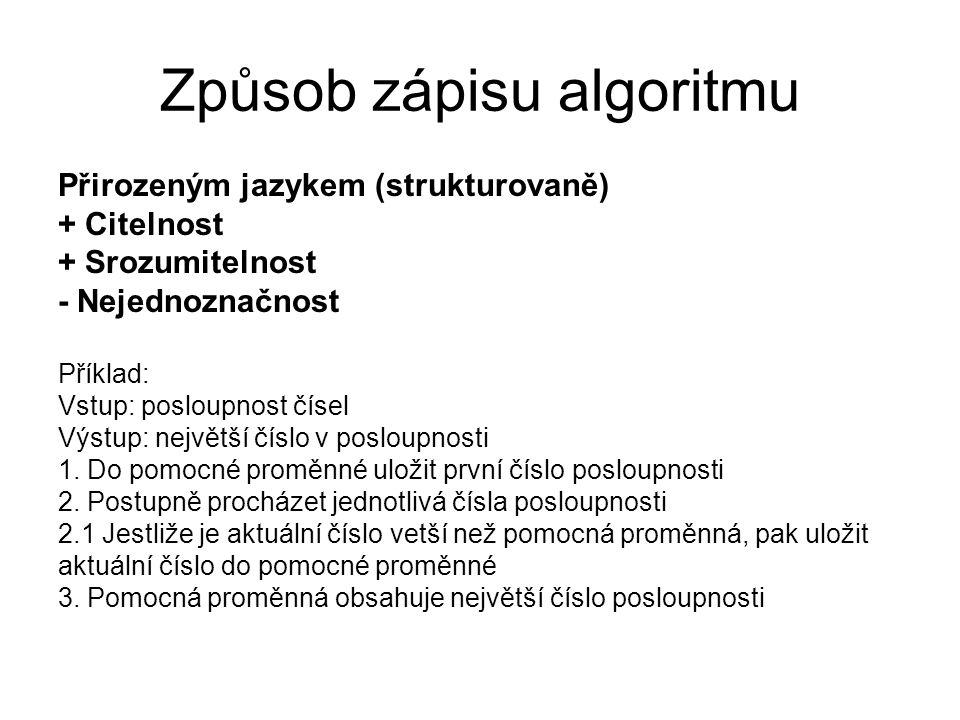 Způsob zápisu algoritmu Přirozeným jazykem (strukturovaně) + Citelnost + Srozumitelnost - Nejednoznačnost Příklad: Vstup: posloupnost čísel Výstup: ne
