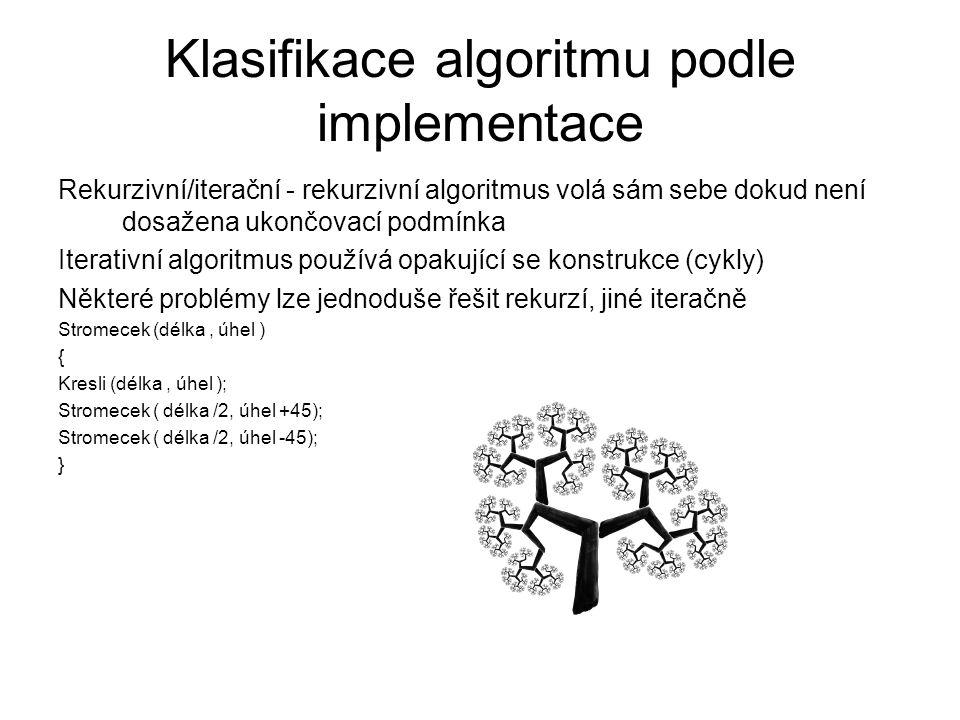 Klasifikace algoritmu podle implementace Rekurzivní/iterační - rekurzivní algoritmus volá sám sebe dokud není dosažena ukončovací podmínka Iterativní