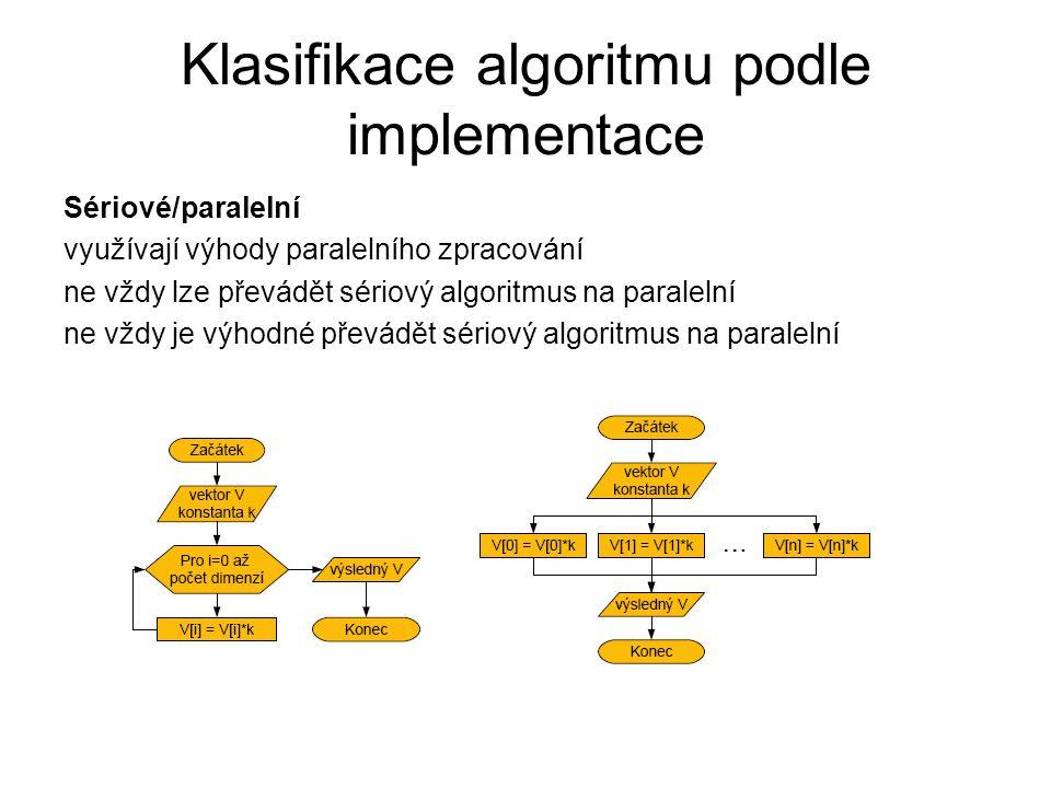 Klasifikace algoritmu podle implementace Sériové/paralelní využívají výhody paralelního zpracování ne vždy lze převádět sériový algoritmus na paraleln