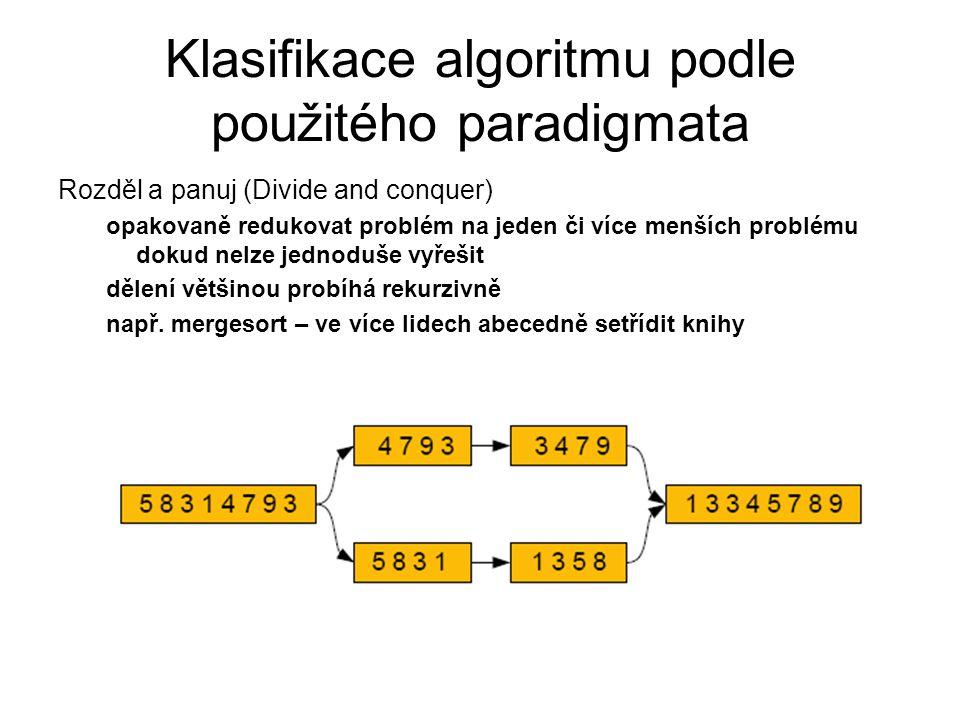 Klasifikace algoritmu podle použitého paradigmata Rozděl a panuj (Divide and conquer) opakovaně redukovat problém na jeden či více menších problému do
