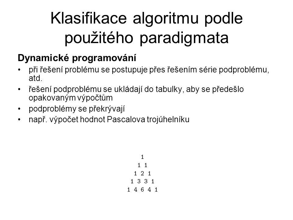 Klasifikace algoritmu podle použitého paradigmata Dynamické programování při řešení problému se postupuje přes řešením série podproblému, atd. řešení