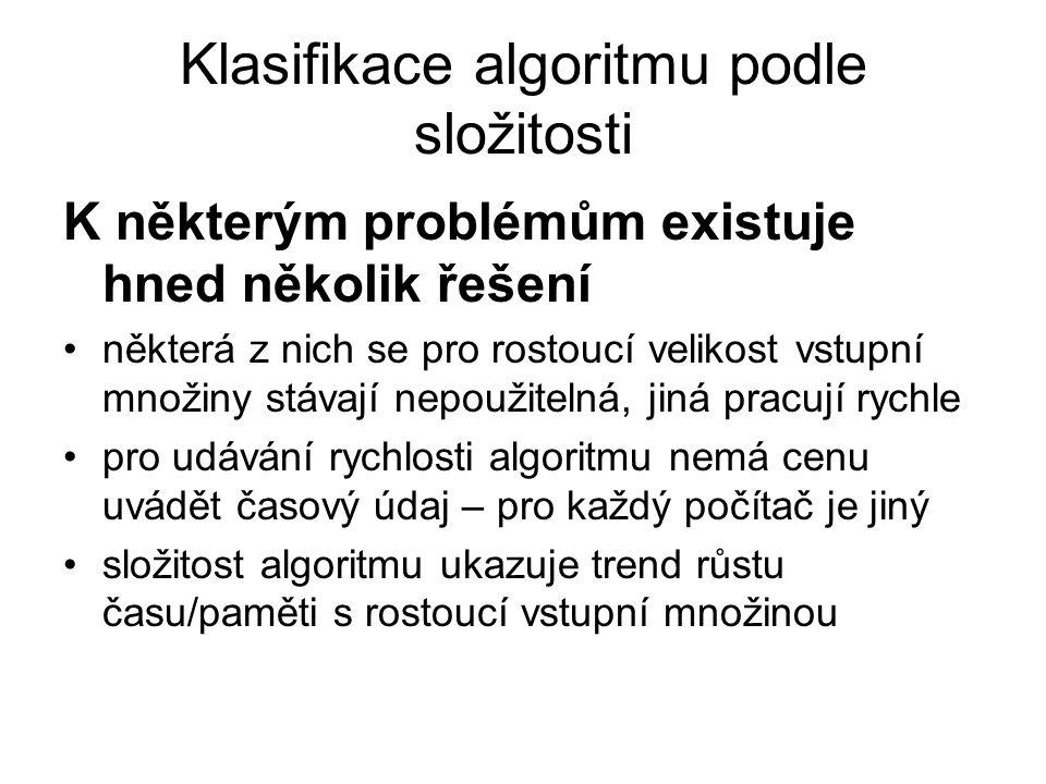 Klasifikace algoritmu podle složitosti K některým problémům existuje hned několik řešení některá z nich se pro rostoucí velikost vstupní množiny stáva