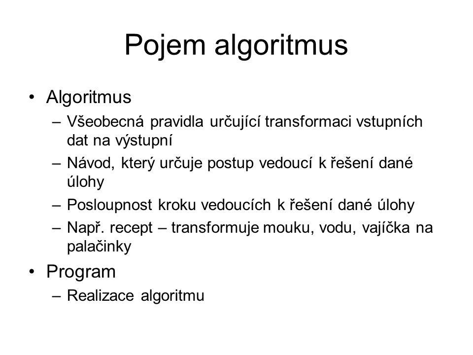 Pojem algoritmus Algoritmus –Všeobecná pravidla určující transformaci vstupních dat na výstupní –Návod, který určuje postup vedoucí k řešení dané úloh