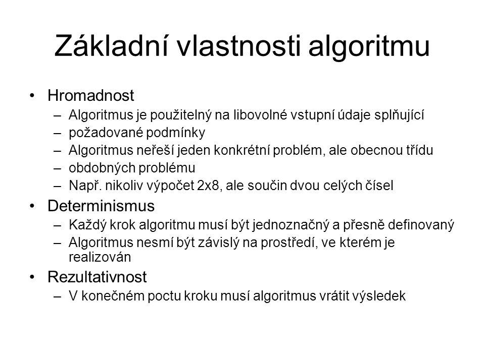 Základní vlastnosti algoritmu Hromadnost –Algoritmus je použitelný na libovolné vstupní údaje splňující –požadované podmínky –Algoritmus neřeší jeden