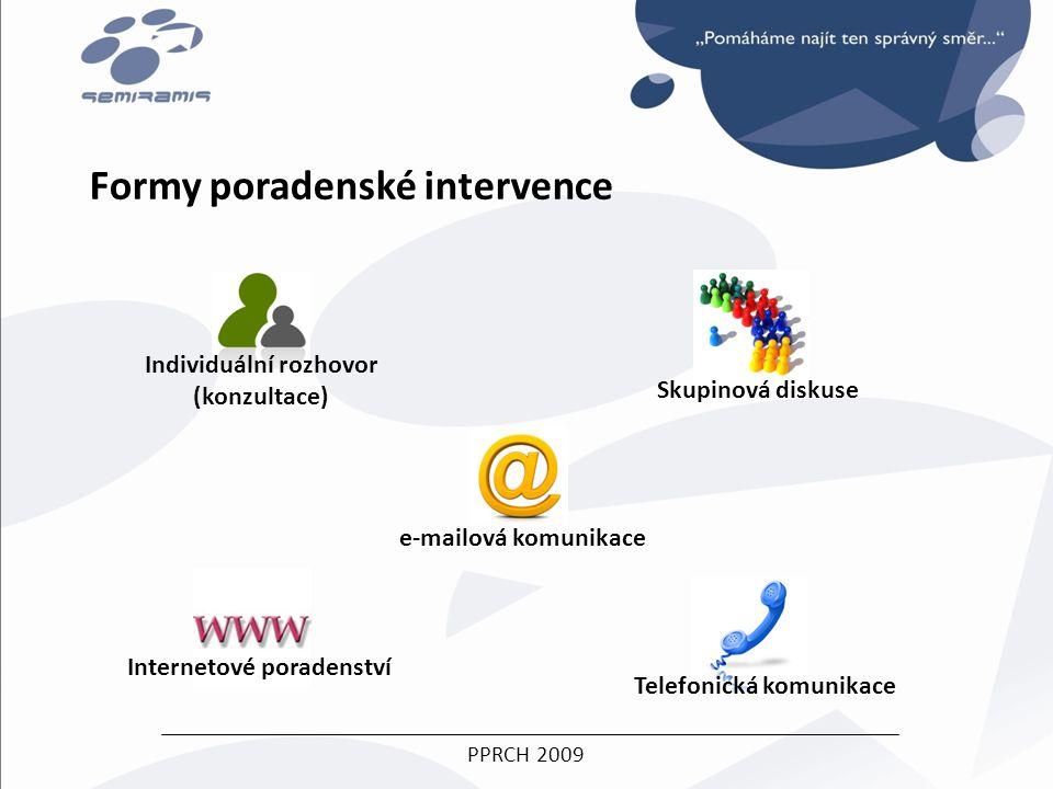 PPRCH 2009 Formy poradenské intervence Individuální rozhovor (konzultace) Internetové poradenství Telefonická komunikace Skupinová diskuse e-mailová komunikace